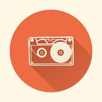 카세트 아이콘 그림, 음악 패턴입니다. 창의적이고 고급스러운 커버