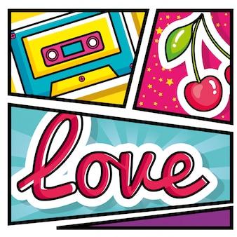 Кассетная музыка с вишней и любовной надписью в стиле поп-арт