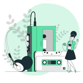 Иллюстрация концепции кассетного плеера