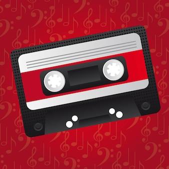 Cassette over red music background vector illustration