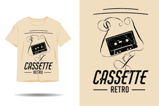 カセットレトロなシルエットのtシャツのデザイン