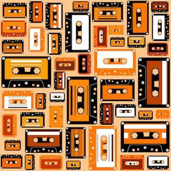 カセットテープシームレスパターンレトロスタイル