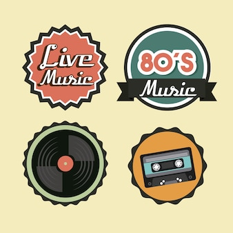 Cassette vinyl and seal stamp icon