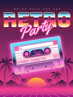 Cassettes poster. retro disco party ,  banner, vintage audio cassette club flyer, festival invitation cover.  background