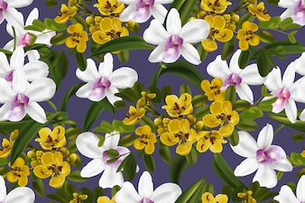 Cassia and orchid seamless pattern