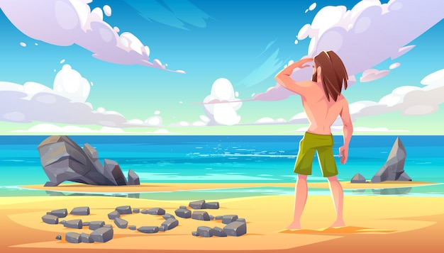 Castaway man on uninhabited island cartoon illustration