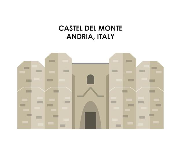Значок castel de monte. италия дизайн культуры. векторная графика