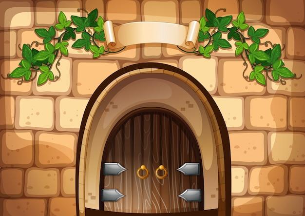 Castel door with vine over it