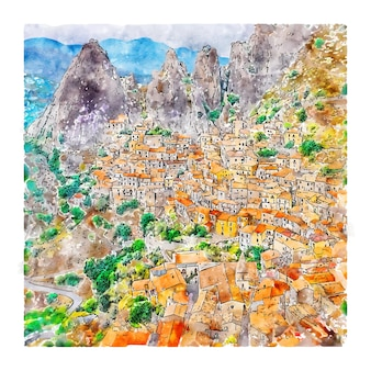 Castelmezzano 이탈리아 수채화 스케치 손으로 그린 그림