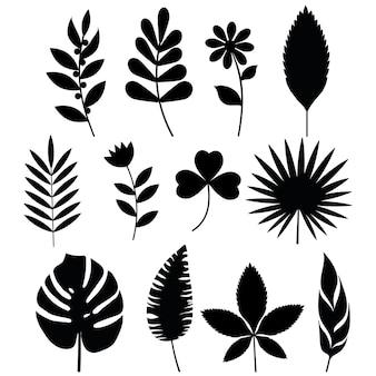 鋳造と花の黒いステンシル。