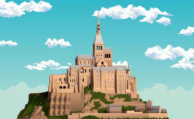 Замок на фоне неба историческая крепость на воде в нормандии замок на острове