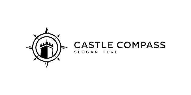 城とコンパスのコンセプトアドベンチャーまたは旅のロゴデザインのインスピレーション