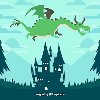 美しいスタイルの城と飛行龍
