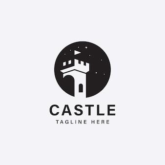 城の建物のベクトルアイコンのロゴデザイン