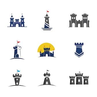Здание замка векторные иллюстрации значок шаблона дизайна