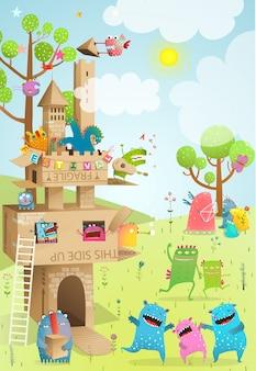 Castle cardboard handmade children summer play. summer landscape with cardboard house or castle for kids.