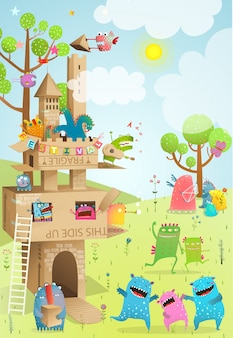 城段ボール手作りの子供たちの夏の遊び。子供のための段ボールの家や城のある夏の風景。