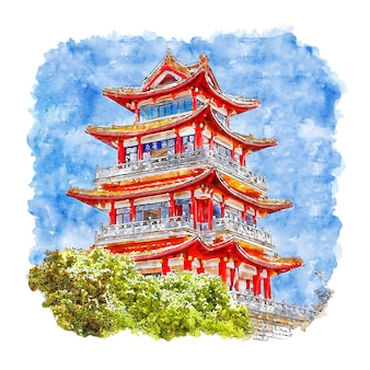 Castle china watercolor sketch hand drawn illustration