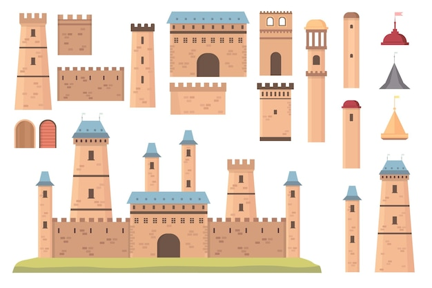 Строитель замка. средневековая архитектура, башни с флагами, стены и двери. старое историческое здание бастиона, набор векторов крепости. архитектурный замок, башня и иллюстрация строительства крепости