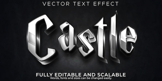 Castle dark text effect, editable metallic and knight text style