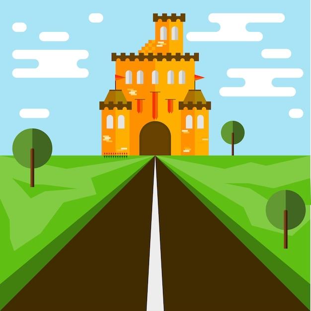 Замок. плоский стиль. ярко-оранжевый замок и дорога.