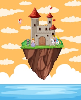 Castle floating on island scene