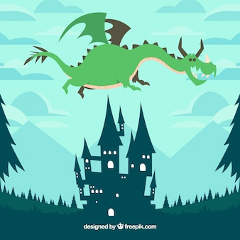 Castle and flying dragon with lovely style