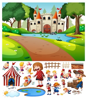 Castle in the forest scene with cartoon character