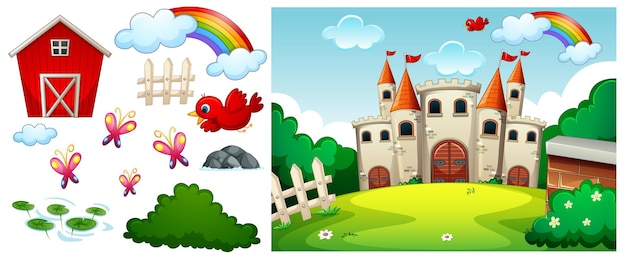 Castle in the forest scene with isolated cartoon character and objects