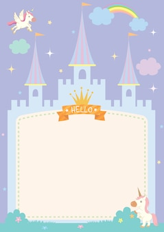 Castle frame with unicorns pastel color