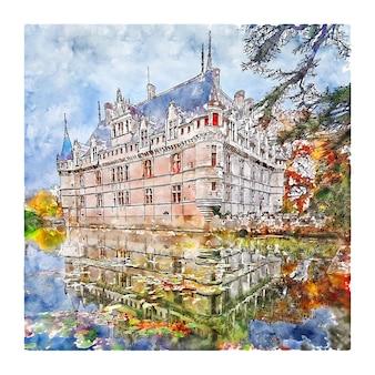 Замок франция акварельный эскиз рисованной иллюстрации