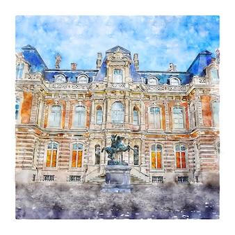 성 프랑스 수채화 스케치 손으로 그린 그림