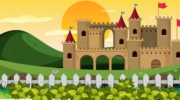 Castle in garden scene