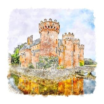 Замок германия акварельный эскиз рисованной иллюстрации