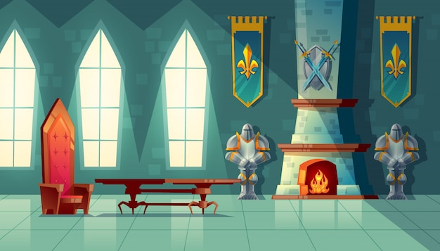 Castle hall, interior of royal ballroom with throne, table, fireplace and knight armor