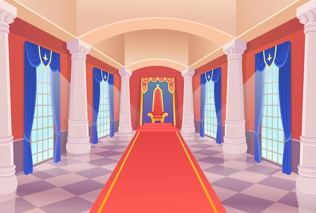 Castle hall with a king throne and windows. vector castle hall with a king throne and windows. artoon illustration.
