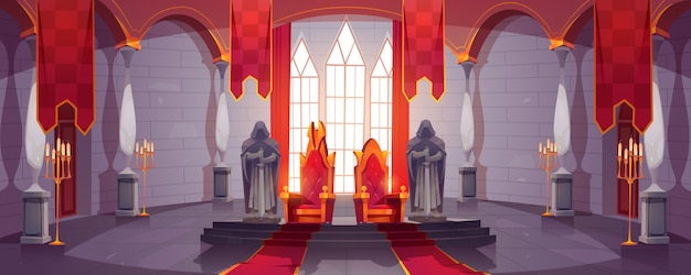 Castle hall with thrones for king and queen. ballroom interior, medieval palace for royal family with flags, guards with swords stone statues. fantasy, fairy tale, pc game cartoon vector illustration