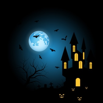 Castle halloween blue background
