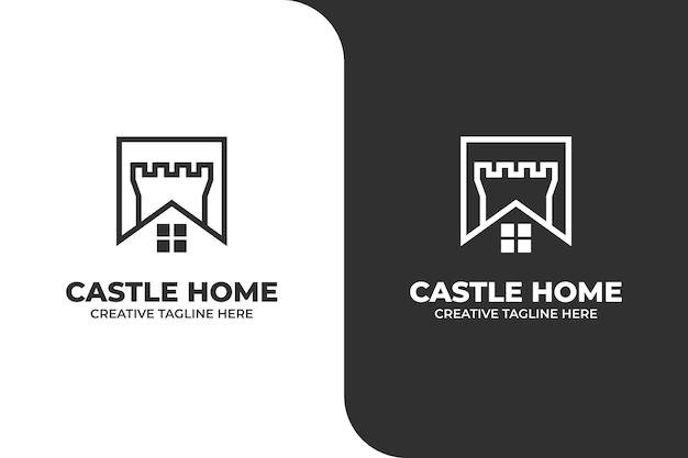 キャッスルハウス要塞モノラインビジネスロゴ