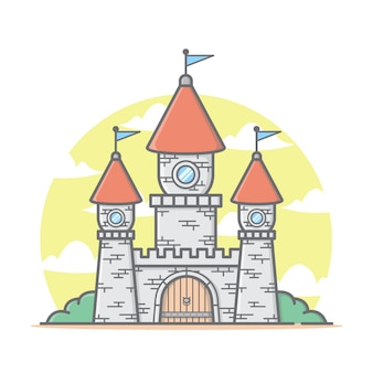 Castle house illustration with clouds and sky