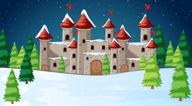 Замок в снежной сцене