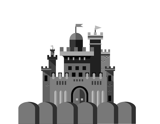 Castle isolated vector illustration