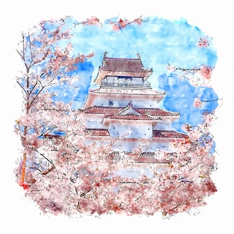 Castle japan watercolor sketch hand drawn illustration