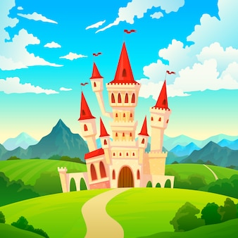Castle landscape. palace fairytale kingdom magical towers medieval mansion castles