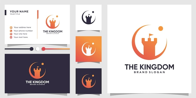 Castle logo abstract and business card design premium vector