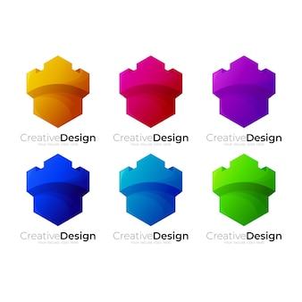 城のロゴデザインテンプレート、カラフルなアイコンを設定します