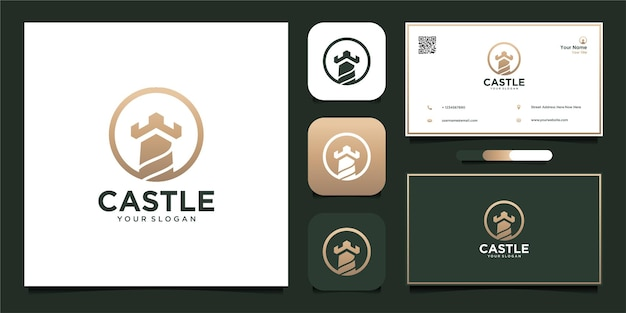 Castle logo design with business card