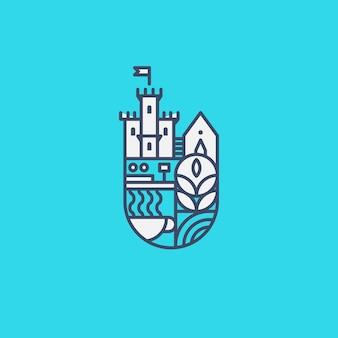 Замок логотип эмблема концепция