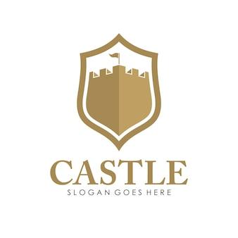 城ロゴ、アイコン、イラストデザインテンプレート