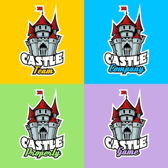 Castle logo set for team, company, property and game.